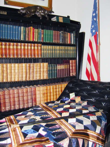 Library with quilt from Matilda McAllister