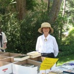 Rebecca Bromley at yard sale table