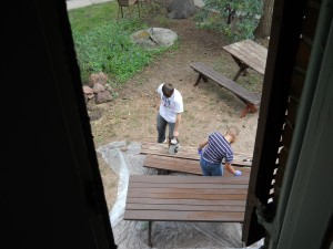 A view of table staining from the upstairs window