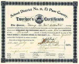Teacher's Certificate