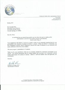 D11 letter of appreciation
